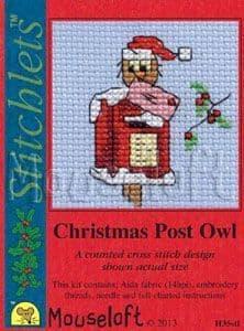 Mouseloft Christmas Post Owl Card Christmas Stitchlets cross stitch kit